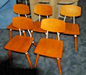 5 Mid Century Modern Hill rom Industrial Dining Danish Style Oak steel Chair
