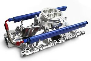 Sbf Polished Aluminum Efi Fuel Injection Intake Throttle Body Fuel Rails Ford