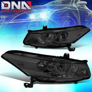 For 2008 2012 Honda Accord Coupe Pair Smoked Housing Clear Side Headlight lamps