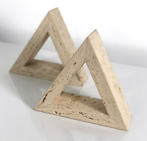 Vintage Fratelli Mannelli Raymor Travertine Pair Triangle Bookends Mid Century