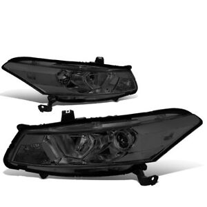 For 2008 2012 Honda Accord 2dr Coupe Projector Headlight Head Lamp Smoked clear