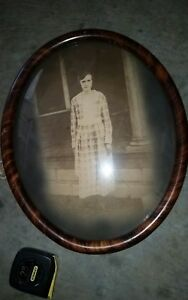 Vtg Antique Oval Bubble Glass Convex Tiger Stripe Picture Frame