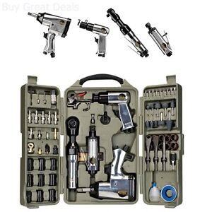 Air Tools And Accessories Kit Ratchet Impact Wrench Grinder Hammer 71 Piece Set