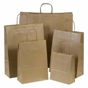 250 Brown Kraft Paper Bags Handles Take Out Grocery Business Shopping Party