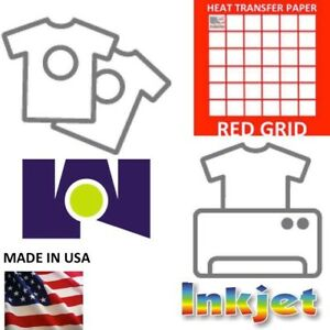 Heat Transfer Paper Red Grid Iron On Light T Shirt Inkjet Paper 100 11 x17