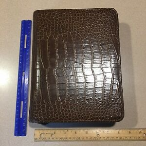 Franklin Covey Classic Brown Vegan Faux Croc Leather Planner Binder Organizer