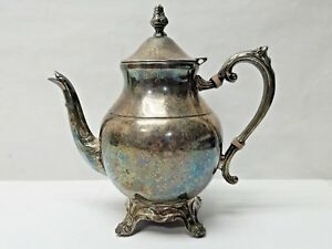 Vintage Fb Rogers Silver Plate Tea Pot Coffee Water Pitcher 9 Tall Ornate Decor