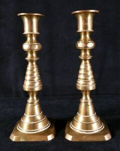 Antique Pair Early 1800s Push Up Brass Beehive Candlesticks England 223580 Vfine