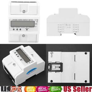 Three Phase Electronic Energy Meter Digital Kwh Din Rail Power Lcd 3 X 20 80a
