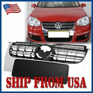 Us Chrome Front Center Bumper Grille Replacement For Vw Jetta Mk5 2005 2010 Fm