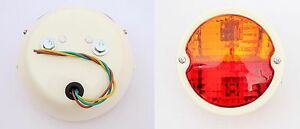 2x Round Vintage Tractor Rear Tail Lamp Light With Licence Plate Window