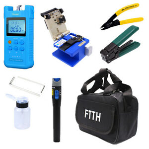 Fiber Optic Ftth Tool Kit With Fc 6s Cleaver Optical Power Meter Finder 18pcs