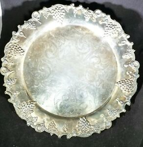 Vintage Platter Silver Plate Engraved W Raised Grape Design Numbered 12 5