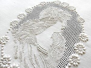 Lady In Cameo Antique Appenzell Embroidery Round Linen Tablecloth 23