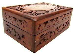 Wooden Storage Box 8 X 5 Hand Carved Inlaid With Solid Brass Latest M
