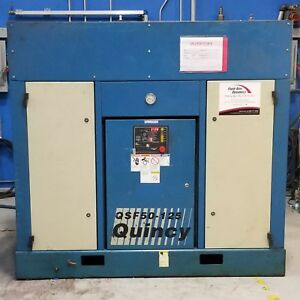 Used Quincy 50 Hp Rotary Screw Air Compressor 230 Volt Qsf50 125