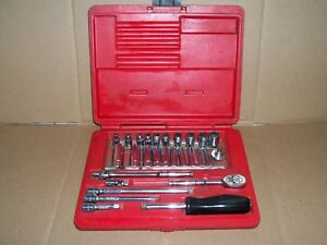 Snap On Tools 1 4 Drive 6 Point Sae Kit With Shallow Deep Socket Set