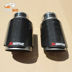 2 Akrapovic Glossy Carbon Fiber Exhaust Muffler Tip 63 101mm Universal Tail Pipe