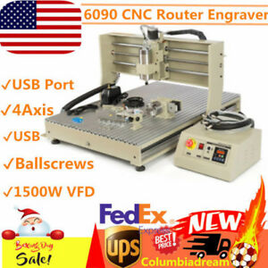 Usb 4 Axis Cnc 6090 Router Engraver Metal Wood 3d Engravering Machine 1500w Vfd