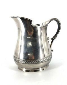 Early 20th C Silverplate Water Pitcher 10 Tall Unusual Oval Shape