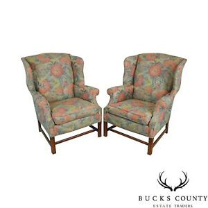 Southwood Chippendale Style Mahogany Frame Floral Upholstered Pair Wing Chairs