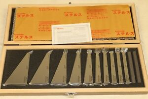 New Mitutoyo 10 Piece Angle Calibration Gage Inspection Block Set 1 To 30 Deg