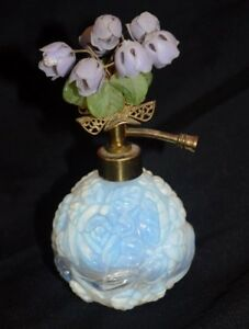 Hollywood Regency Irice Opalescent Glass Floral Top Perfume Bottle Atomizer
