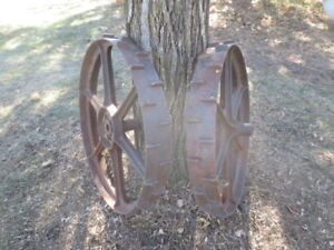 30 Dia Antique Lugged Cast Iron Steel Tractor Implement Wheels