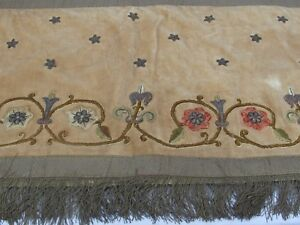 18th C Antique Velvet And Gold Embroidered Altar Table Runner Or Hanging Panel