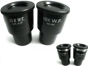 Ao American Optical Microscope 10x No 437 Height Adjustable Widefield Eyepieces