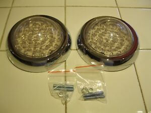 1950 Pontiac Led Tail Lights W Bezel Vintage Style With Clear Lens And Red Led S