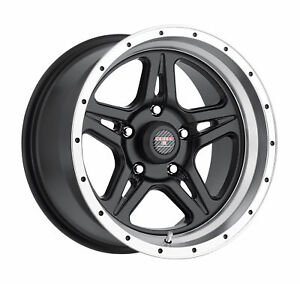 16x8 5 Level 8 Strike 5 Matte Black W Machined Lip Wheels 5x135 6mm Set Of 4