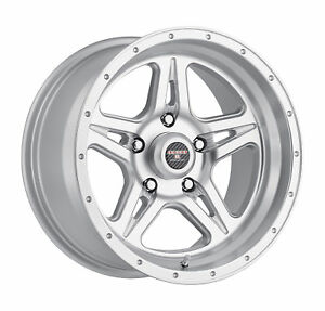 16x8 5 Level 8 Strike 5 Matte Silver W Machined Lip Wheels 5x4 5 6mm Set Of 4