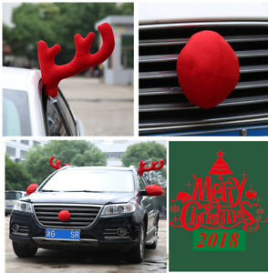 Reindeer Antlers Nose Mirror Cover Car Costume Christmas Decor Holiday Spirit
