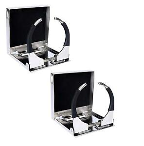 Amarine Made Pair Of Bigger Stainless Steel Adjustable Folding Drink Cup Holders