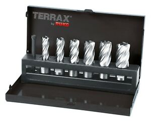 Terrax 7pcs Magnetic Core Drill Bit Set Hss Cutting Depth 30mm Made In Germany