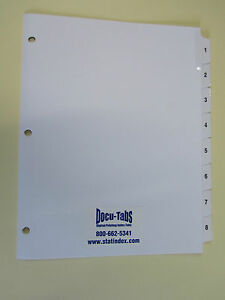 120 Sets 1 8 Numbered Index Tab Dividers 3 Hole Reinforced 1 28 Per Set