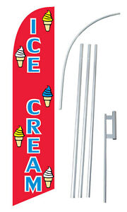 Windless Ice Cream Swooper Banner Bow Flag Sign Sw10613
