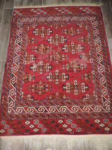 4 6x6 2ft Antique Turkoman Wool Distressed Rug