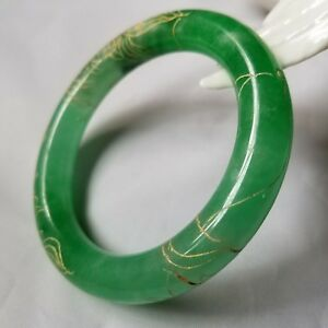 Certified Natural Green Jadeite Carving Bangle Bracelet Id 56 26mm