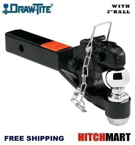 Draw Tite Pintle Trailer Hitch Receiver Mount W 2 Ball Solid Shank 63041