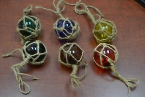 3 Pcs Reproduction Glass Float Ball With Fishing Net 2 Pick Your Colors