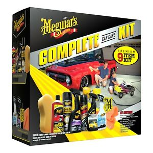 Car Care Kit Gift Pack Meguiar s 9 piece Complete Auto Detailing Wax Clean Wipe