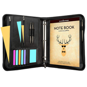 Padfolio Business Leather Portfolio Zippered Notebook Binder Organizer Office
