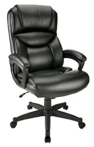 Realspace Fennington High back Bonded Leather Office Desk Chair Black black