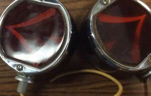 Vintage Arrow Sparton Teleoptic Double Sided Glass Turn Signal Stop Tail Lights