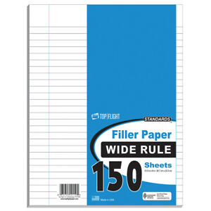 150 Count Filler Paper Wide Ruled Poly Wrapped units Per Case 24