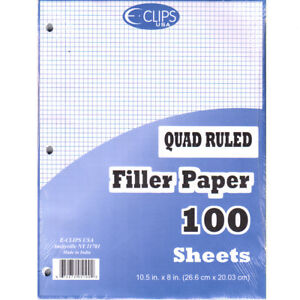 Quad Ruled Graph Filler Paper 100 Count units Per Case 48