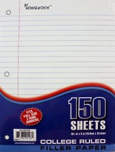 Filler Paper College Ruled 150 Sheets units Per Case 24