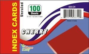 3 X 5 Cherry Unruled Index Cards 100 Count units Per Case 40